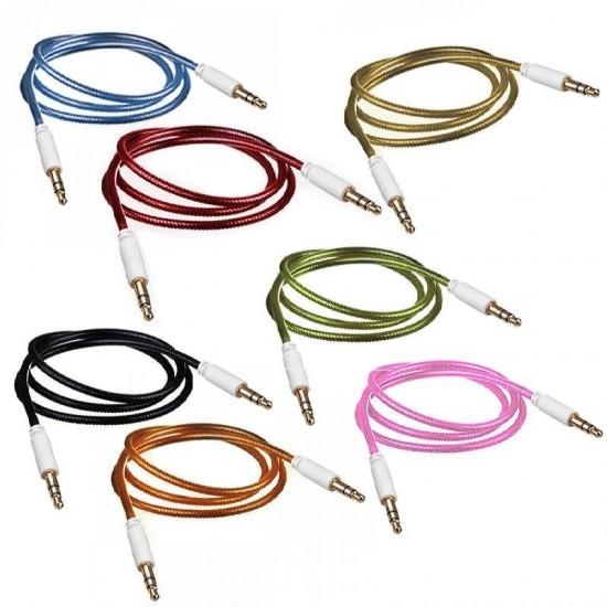 Cablu audio lux snur nylon galben