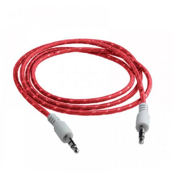Cablu audio lux snur textil rosu