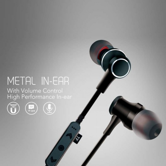 Casti metalice In-Ear Wireless cu Bluetooth Deepbass D-22 - Negru