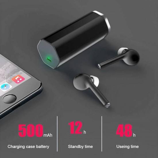Casti stereo In-Ear Wireless Bluetooth TW50, Negru