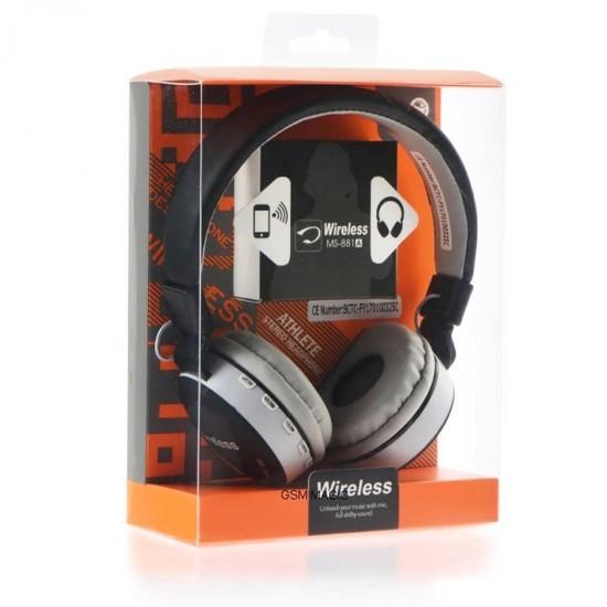 Casti audio pliabile On-Ear Wireless cu Handsfree Bluetooth MS - 881A albe