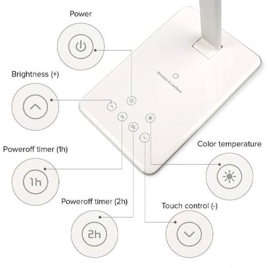 Lampa de birou LED Bilitong WD102 cu incarcare wireless pentru telefon si control cu touch