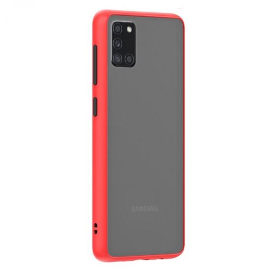 Husa spate Button Case Samsung Galaxy A31 - Rosu / Negru