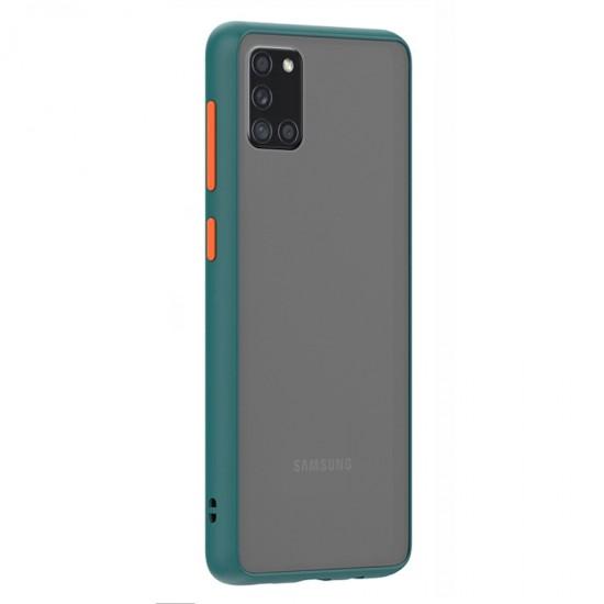 Husa spate Button Case Samsung Galaxy A31 - Turcoaz / Portocaliu