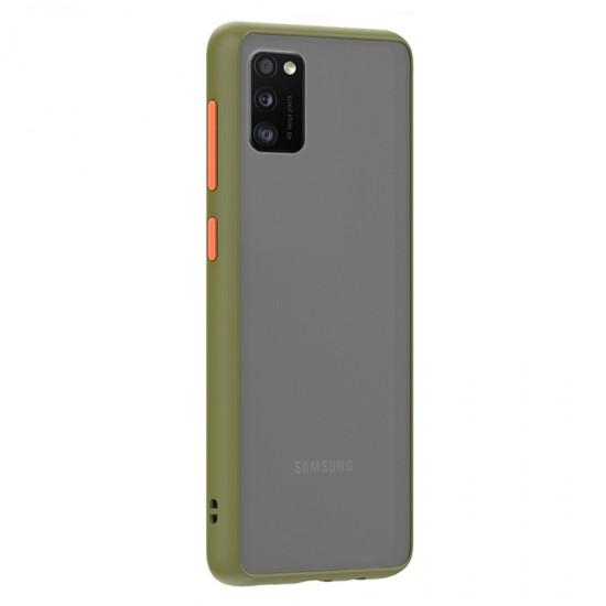 Husa spate Button Case Samsung Galaxy A41 - Army / Portocaliu