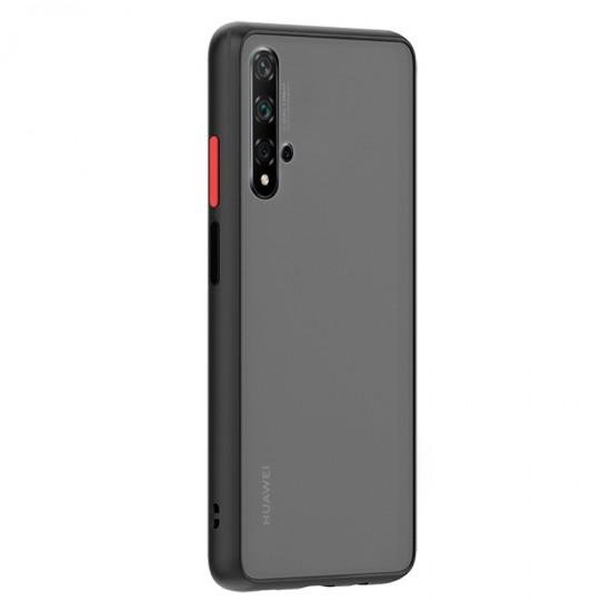 Husa spate Button Case pentru Huawei Nova 5T - Negru / Rosu