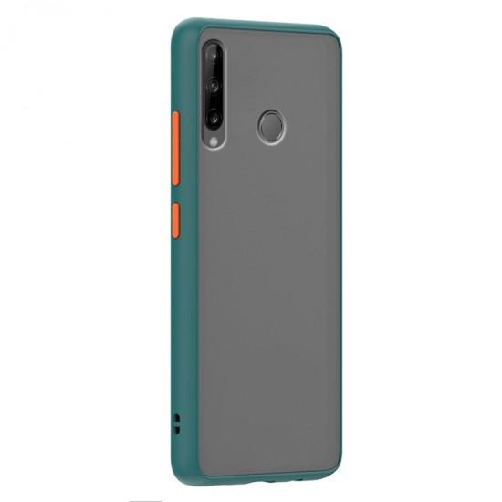 Husa spate Button Case pentru Huawei P40 Lite E - Turcoaz / Portocaliu
