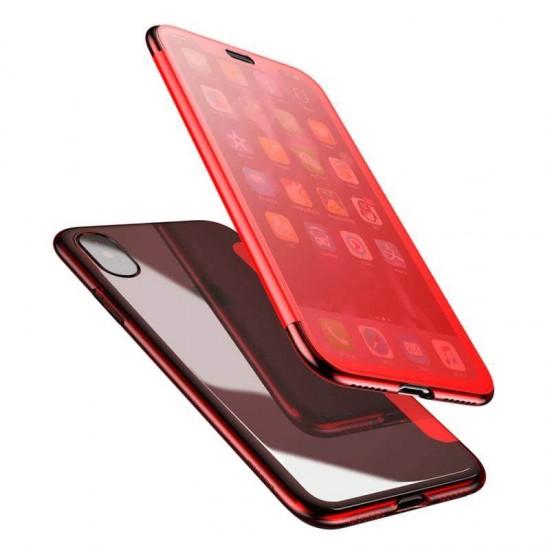 Husa Flip Case Baseus Touchable Case Apple iPhone XS Max Rosu