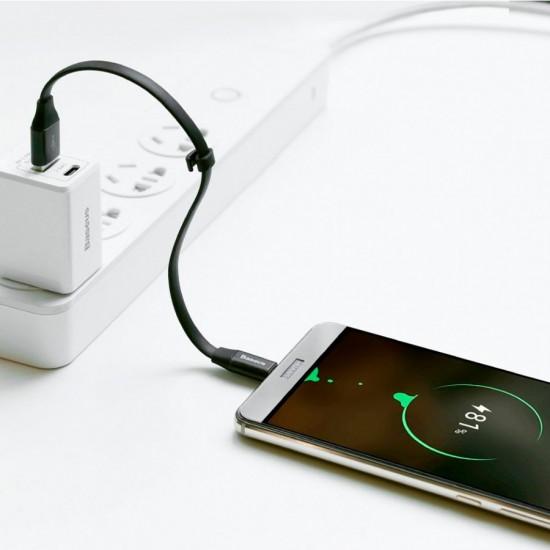 Cablu date / incarcare 2 in 1 Reversibil Lightning / Micro-USB 2A 20 cm Negru