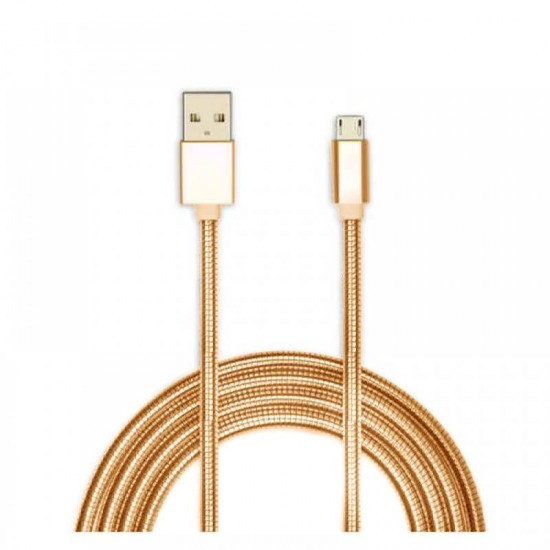 Cablu date metalic microUSB 1m gold