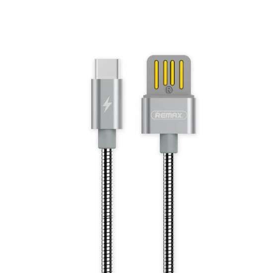 Cablu date metalic Type-C Fast Charge Remax RC-080 argintiu