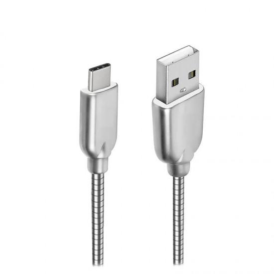 Cablu date metalic Type-C 1m gri