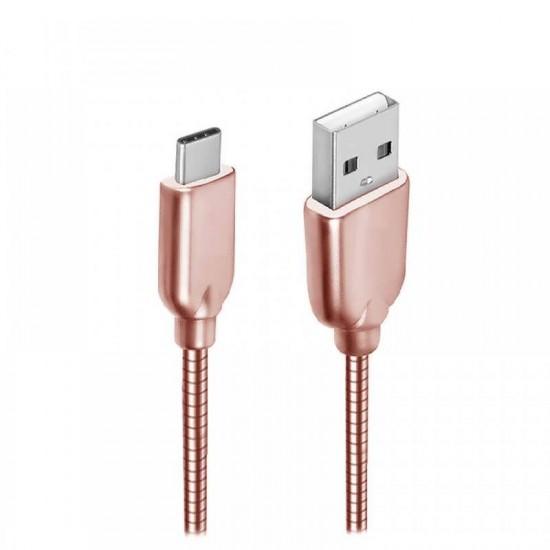 Cablu date metalic Type-C 1m rose gold