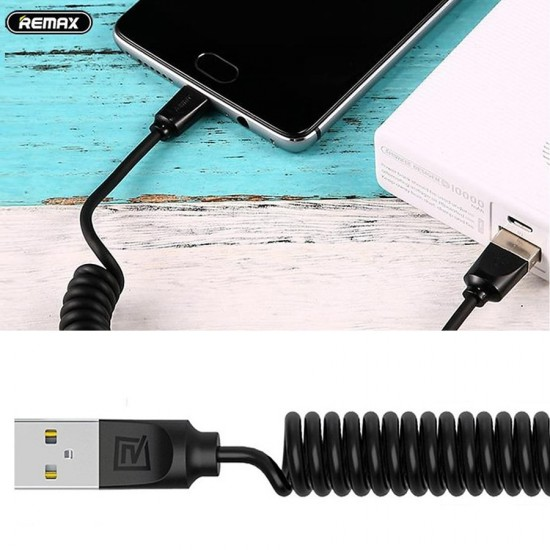 Cablu date spiralat microUSB Remax negru