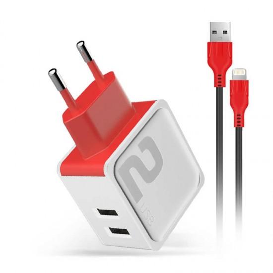 Incarcator priza Fast Charge DM-20 2.4A 2 x USB cablu Lightning - Alb