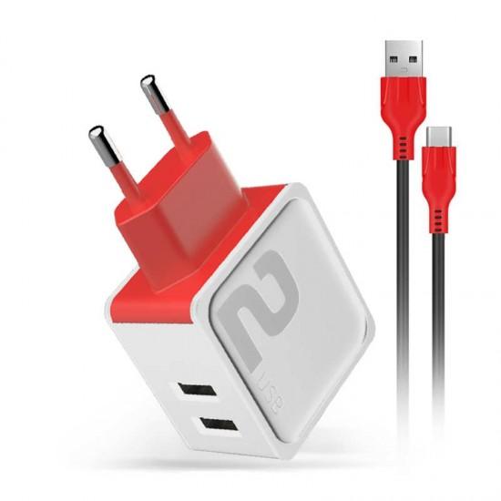 Incarcator priza Fast Charge DM-20 2.4A 2 x USB cablu microUSB - Alb