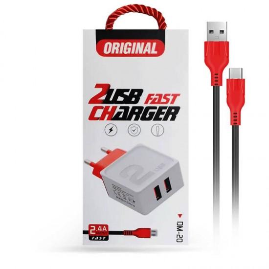 Incarcator priza Fast Charge DM-20 2.4A 2 x USB cablu microUSB - Negru