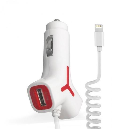 Incarcator auto KW 2.1A 2 x USB cu cablu Lightning Alb/Rosu